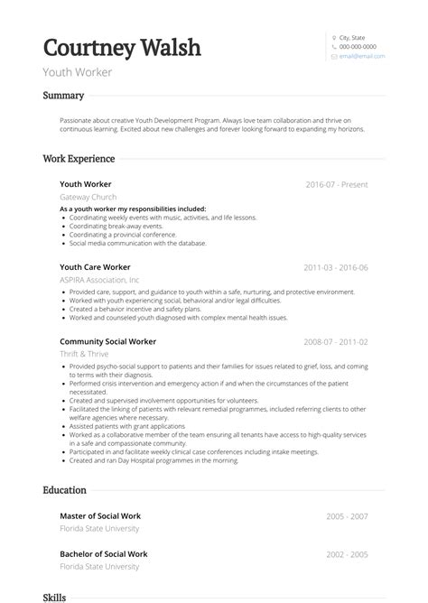 resume template youth central youth central resume template