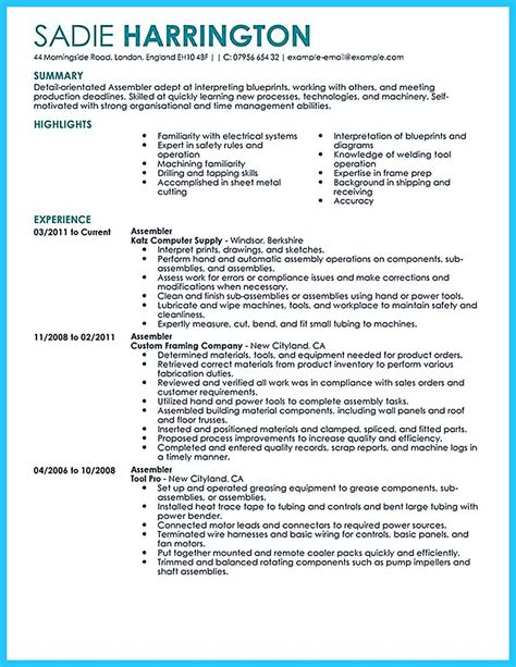resume templates assembly worker assembly line worker resume best sample resume