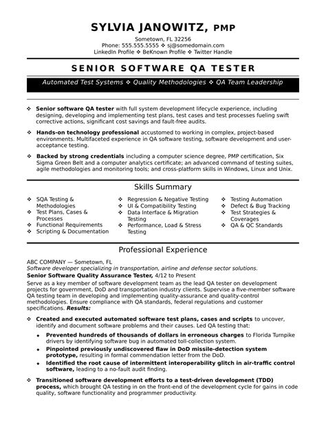 Resume Templates For Qa Tester Experienced Qa Software Tester Resume Sample Monster