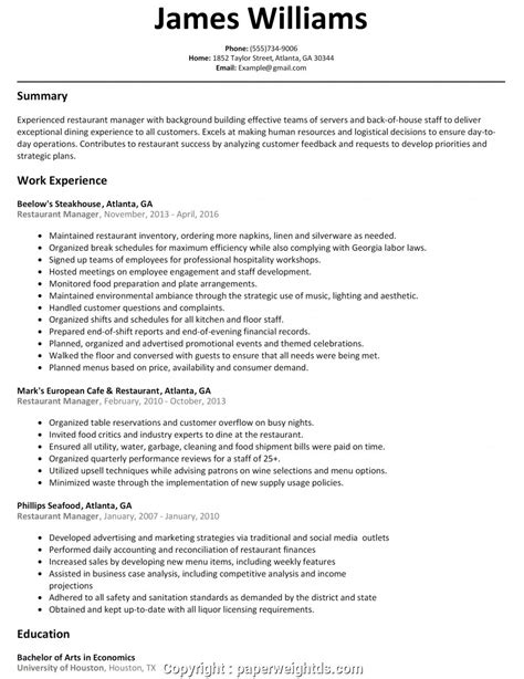 free resume templates restaurant manager resume templates for restaurant jobs 10 free resume - Sample Resume For Restaurant Manager