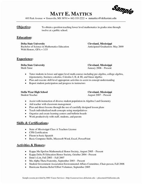 Resume Template For Wordpad Resume Creator For Students