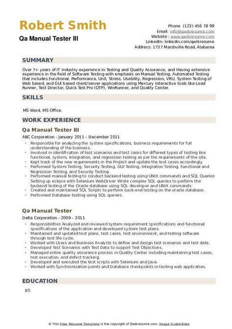 Resume Templates For Qa Tester Manual Qa Tester Resume Sample Technical Resumes
