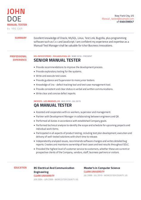Resume Templates For Qa Tester Manual Tester Resume Samples Jobhero
