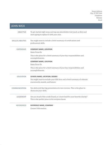 Resume Templates For College Students With No Experience Printable Blank Resume Templates In Word For Students Or