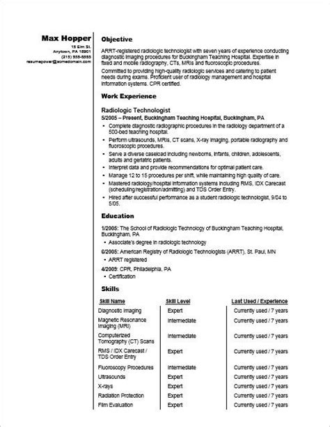 sample resume of radiologic technologist resume tips for radiography professionals monster - Sample Resume For Radiologic Technologist