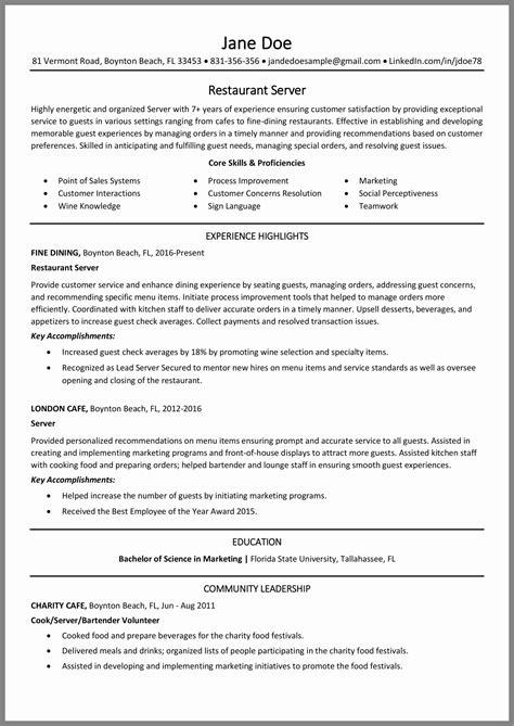 resume tips restaurant server restaurant server resume sample monster