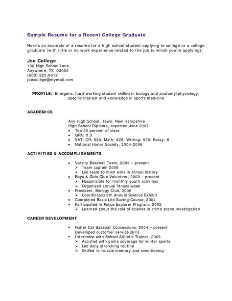 Resume To School High School Resumes Resume Builder For High School Students