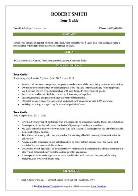 resume tour guide example tour guide resume career faqs - Tour Guide Resume