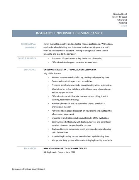 Resume Underwriter Position Field Underwriter Position Available 100k To 120k First