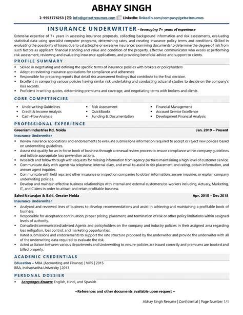 Resume Underwriter Position Sample Insurance Underwriter Resume Cvtips