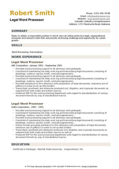 word processor resume - Data Processor Resume