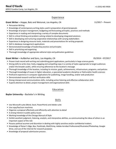 Resume Writer Description Grant Writer Resume Sample