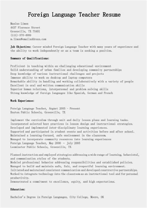 Resume Writing Service New Orleans Foreign Language Teacher Resume Sample Combined Resume