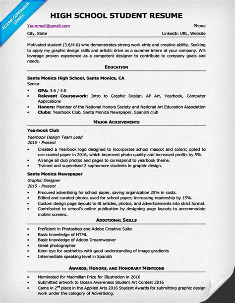 Resume Writing For Highschool Students High School Student Resume Example And Writing Tips
