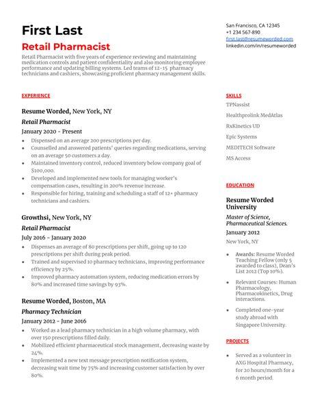 retail pharmacist cover letter examples | sample nursing resumes free - Pharmacist Resume Example