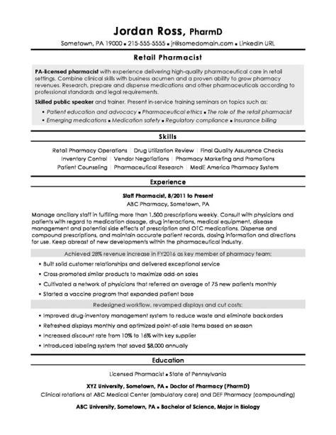 sample retail pharmacist resume retail pharmacist resume example job descriptions - Sample Pharmacist Resume