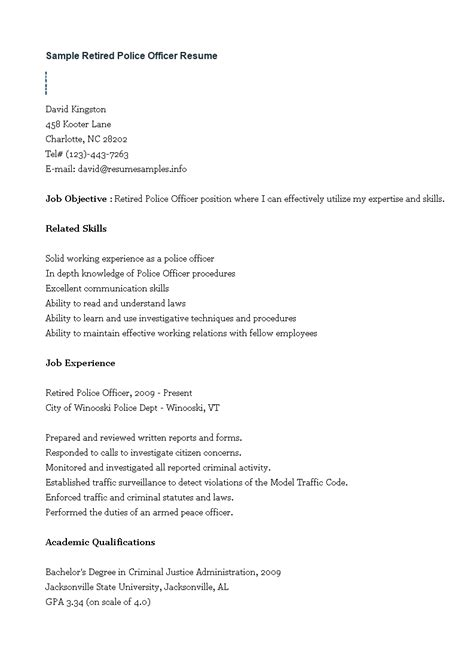 retired police officer resume examples police officer resume objective statements police officer resume - Police Officer Objective Resume