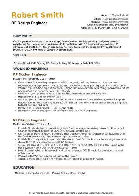 rf engineer resume sample cover letter for rf design engineer