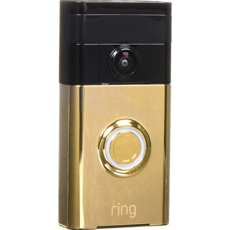 Brass Ring Wi Fi Enabled Video Doorbell In Polished Brass.