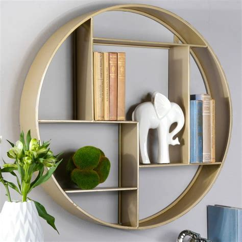 Round Metal 7 Slot Wall Shelf