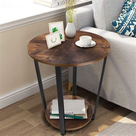 Round Nightstand End Table