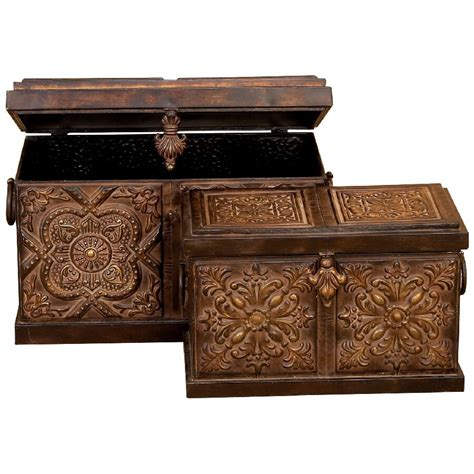 Rustic Embossed Metal Trunk 2 Piece Set