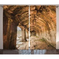 Rustic Pier on Beach Decor Graphic Print Room Darkening Rod Pocket Curtain Panels (Set of 2 by