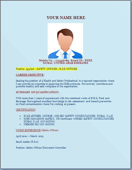 Safety Officer Resume In Word Format