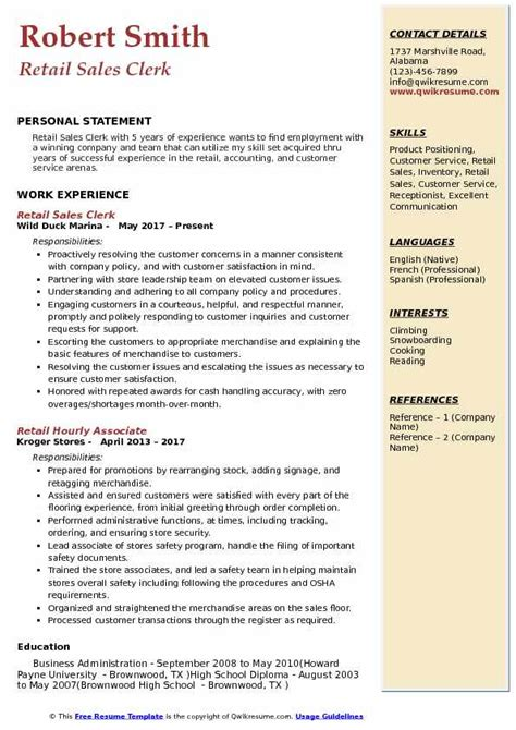 sales clerk position resume perfect resume guide