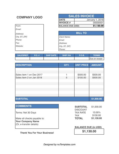 Sales Invoice Format Download Invoice Software For Printing Generator Tax Sales