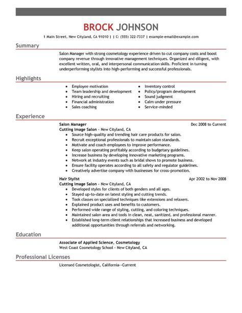 sample resume hair salon manager salon manager resume hairdresser job description