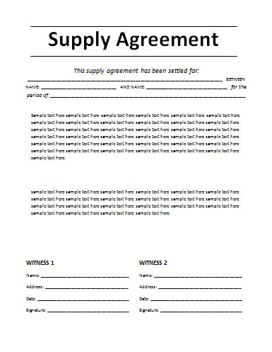 Sample Agreements Between Two Parties Agreements Sample Supply Agreement