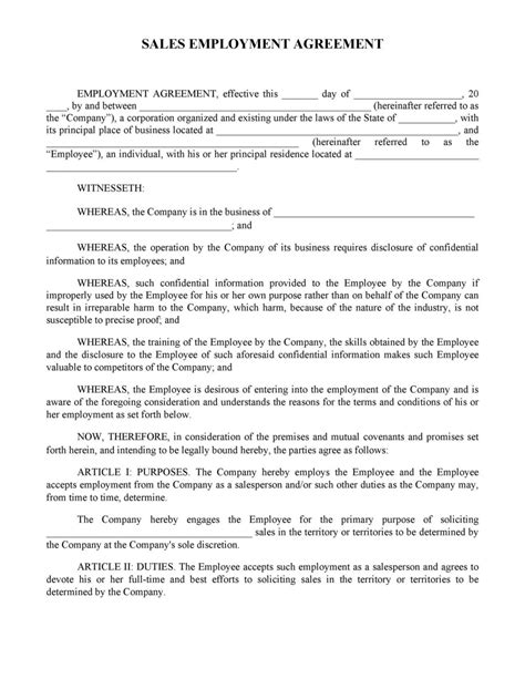 Sample Agreements Between Two Parties Employment Contract Sample Contracts And Business Forms