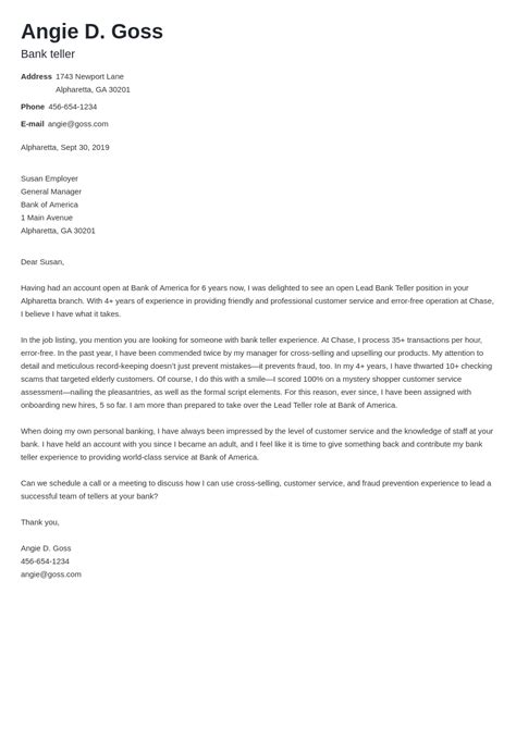 Sample Application Letter For Bank Teller With No Experience Bank Teller Cover Letter Example