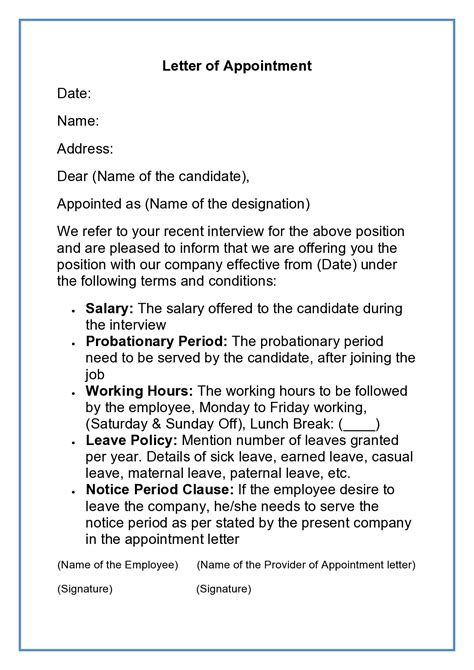 Sample Appointment Letter For Contract Employees Appointment Letter For New Employees