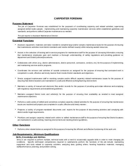 sample carpenter resume canada construction foreman sample resume cvtips - Sample Carpenter Resume