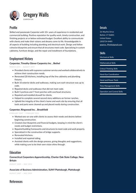 sample carpenter resume