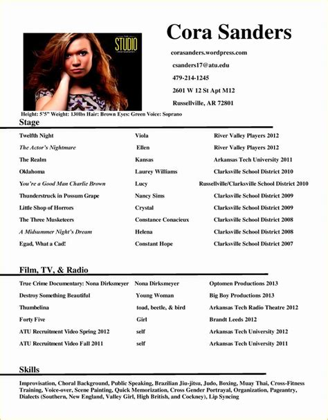 stunning acting resume with no experience gallery simple resume