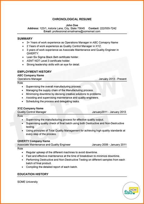 Sample Chronological Resume Military Reverse Chronological Resume Example Sample