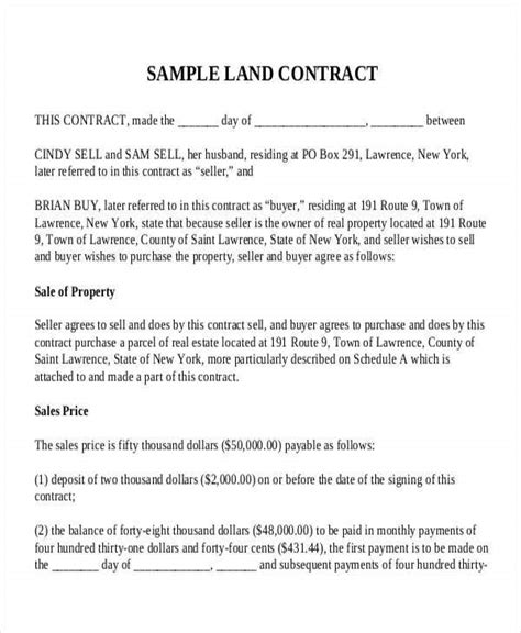 Sample Contract Of Sale Of Parcel Of Land Sample Land Contract Rural Law Center Of New York