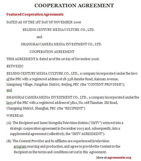 Sample Cooperation Agreement Contract Agreement Sample Agreements Contracts And Legal Forms
