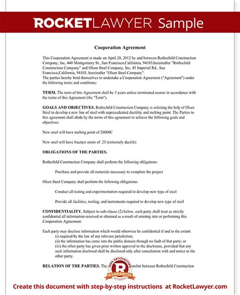 Sample Cooperation Agreement Contract Sample Acceptance Agreement Nadbank