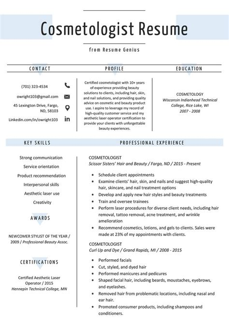 resume examples cosmetology - Cosmetologist Resume Examples