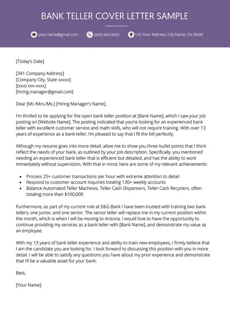 Sample Cover Letter For Bank Job With Experience Bank Teller Cover Letter For Banking Jobs