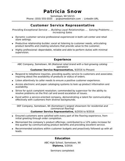 resume sample for customer service manager