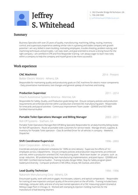 machinist sample resumes