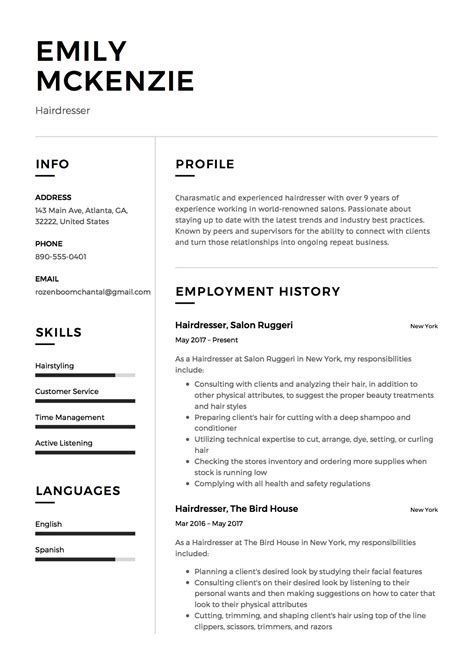 sample cv for hairdresser hairdresser resume sample