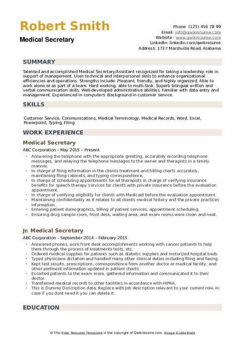 sample cv of medical secretary medical secretary resume free sample resumes