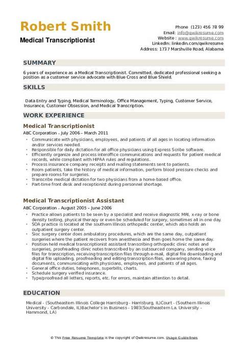 Sample Cv Of Medical Lab Technician Medical Transcriptionist Resume Samples Examples