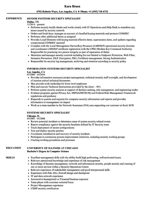 resume objective cyber security sample cyber security specialist resume o resumebaking